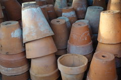 Terracotta Flowerpots. Stacks of small upturned terracotta flower pots Royalty Free Stock Image