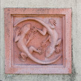 Terracotta gecko wall decoration Stock Images