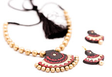 Terracotta Jewelry. Handmade womens terracotta chain with pendant, earring, indian craft Stock Image
