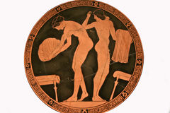 Terracotta kylix or drinking cup paintings Stock Photos