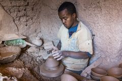 The terracotta maker of Tamegroute, Morocco Royalty Free Stock Photos