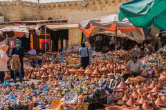 Terracotta market, Morocco. Street market with sale of terracotta objects, Mknes, Morocco Stock Photo