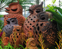 Terracotta owls Stock Photo
