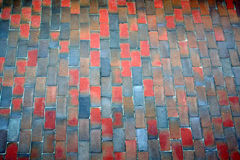 Terracotta pathway texture. Different colours bricks Royalty Free Stock Images