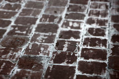Terracotta paving tile, small depth of field Royalty Free Stock Image
