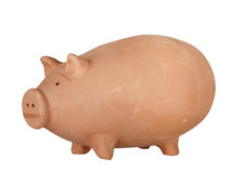 Terracotta pink pig, isolated Royalty Free Stock Photography