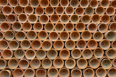 Terracotta plant pots. Horizontal stock photography