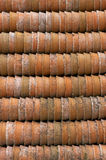 Terracotta plant pots. Vertical royalty free stock photo