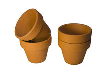 Terracotta plant pots with clipping path Royalty Free Stock Images