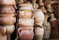 Terracotta plant pots, stacked Royalty Free Stock Photos