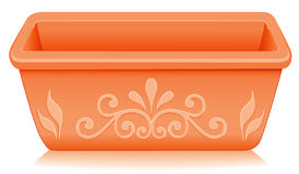Terracotta Planter, Floral Design. Rectangular terracotta clay flower pot planter with embossed floral designs. EPS8 compatible Royalty Free Stock Images