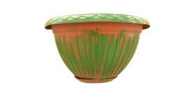 Terracotta pot with green patina Royalty Free Stock Photo