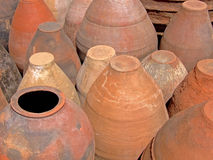 Terracotta pots. Bunch of handmade terracotta pots Royalty Free Stock Photography