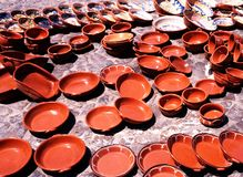 Terracotta pots, Evora, Portugal. Royalty Free Stock Images