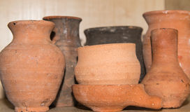 Terracotta pots. In the kitchen Stock Photography