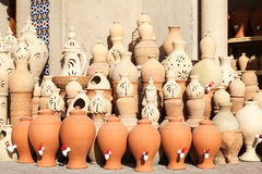 Terracotta pots for sale in Nizwa, Oman Royalty Free Stock Photography