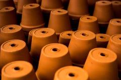 Terracotta pots stacked. Stock Photo