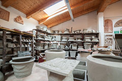 Terracotta products warehouse. In the potter atelier Stock Photo