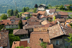 Terracotta rooftops of Italian village. Royalty Free Stock Photos
