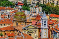 Terracotta rooftops of the Old Town, Vieille Ville in Nice on th Royalty Free Stock Images