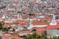 Terracotta rooftops at Sucre city in Bolivia Stock Photos