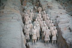 Terracotta sculptures depicting the armies of Qin Shi Huang, the first Emperor of China. The terracotta sculptures depicting the armies of Qin Shi Huang, the Royalty Free Stock Image
