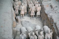 Terracotta sculptures depicting the armies of Qin Shi Huang, the first Emperor of China. The terracotta sculptures depicting the armies of Qin Shi Huang, the Stock Images
