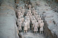 Terracotta sculptures depicting the armies of Qin Shi Huang, the first Emperor of China. The terracotta sculptures depicting the armies of Qin Shi Huang, the Royalty Free Stock Images