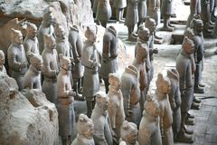 Terracotta sculptures depicting the armies of Qin Shi Huang, the first Emperor of China royalty free stock images