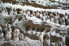 Terracotta sculptures depicting the armies of Qin Shi Huang, the first Emperor of China. The terracotta sculptures depicting the armies of Qin Shi Huang, the Royalty Free Stock Photo