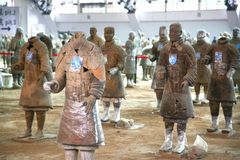 Terracotta sculptures depicting the armies of Qin Shi Huang, the first Emperor of China. The terracotta sculptures depicting the armies of Qin Shi Huang, the Stock Photos