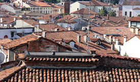 Terracotta tiled roofs in European cities Stock Images