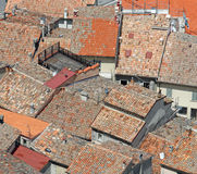Terracotta tiled roofs nearby in crowded village in Italy Royalty Free Stock Images