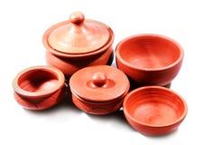 Terracotta traditioneel huis gemaakt tot potten en kommen royalty-vrije stock afbeeldingen