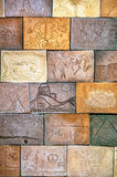 Terracotta wall tiles in earth tone. At Wellington Botanic Garden royalty free stock images