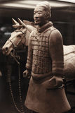 Terracotta warrior with horse, China Royalty Free Stock Photo