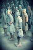 Terracotta Warriors. Authentic Chinese Terracotta Warriors discovered in Xian, China. Photo taken at the pit site in Xian