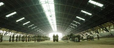 Terracotta warriors. A hall holding some of the Chinese Terracotta warriors from the Mausoleum of the First Qin Emperor Royalty Free Stock Photography