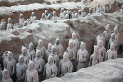 Terracotta warriors, China. General view of the Terracotta warriors in Xian, China royalty free stock photography