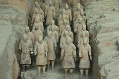 Archaeological excavations of the clay army of the emperor Qin Shi Huang. Terracotta Warriors. China, Xi`an: Archaeological excavations of the clay army of the stock image