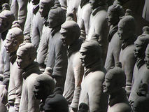 Terracotta warriors in a row stock photography