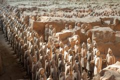 Terracotta warriors in Xi`An, China. On December 3, 2010. It is a collection of terracotta sculptures depicting the armies of Qin Shi Huang, the first Emperor royalty free stock image