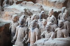 Terracotta warriors in xian close scene Royalty Free Stock Images