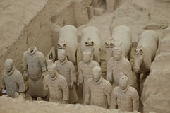 Terracotta Warriors from Xian. Life-size statues of the Qin army to protect the emperor in the afterlife. Photo taken September 2015 Stock Image
