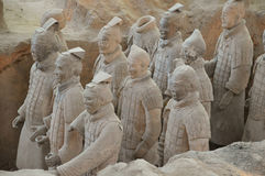 Terracotta Warriors from Xian. Life-size statues of the Qin army to protect the emperor in the afterlife. Photo taken September 2015 Royalty Free Stock Photos