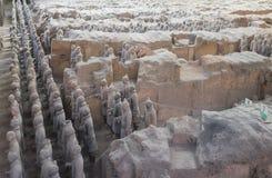 Terracottaleger in Xian, China Stock Foto's