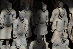 Terracottastrijders bij het Mausoleum van Eerste Qin Emperor, Xian, China stock foto's