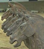 Terracottastrijders: paardhoofden stock afbeelding