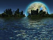 Луна Terraformed как увидено на будущей земле Стоковое фото RF