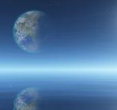 Terraformed księżyc nad wodą Zdjęcia Stock